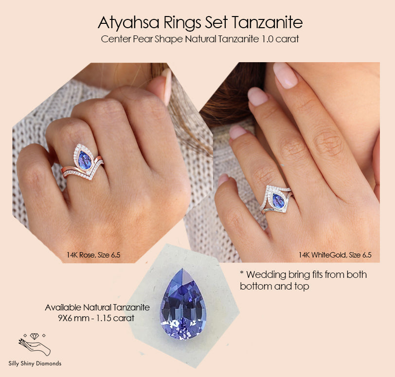 Private listing for Ben - 18K rose gold, Pear Tanzanite Atyasha - sillyshinydiamonds