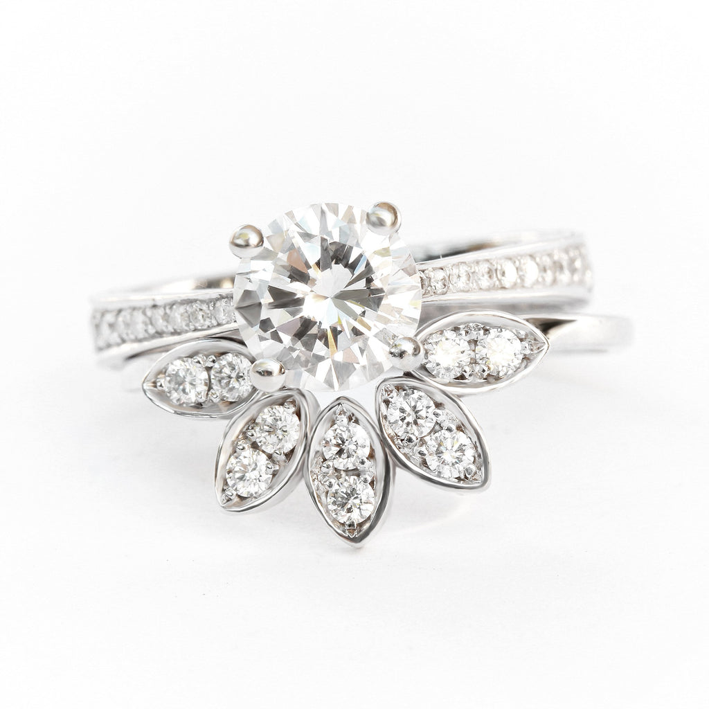 My Classic Engagement Rings Set - Leaves Diamond Unique Engagement & Wedding Rings Set, 1.35ct