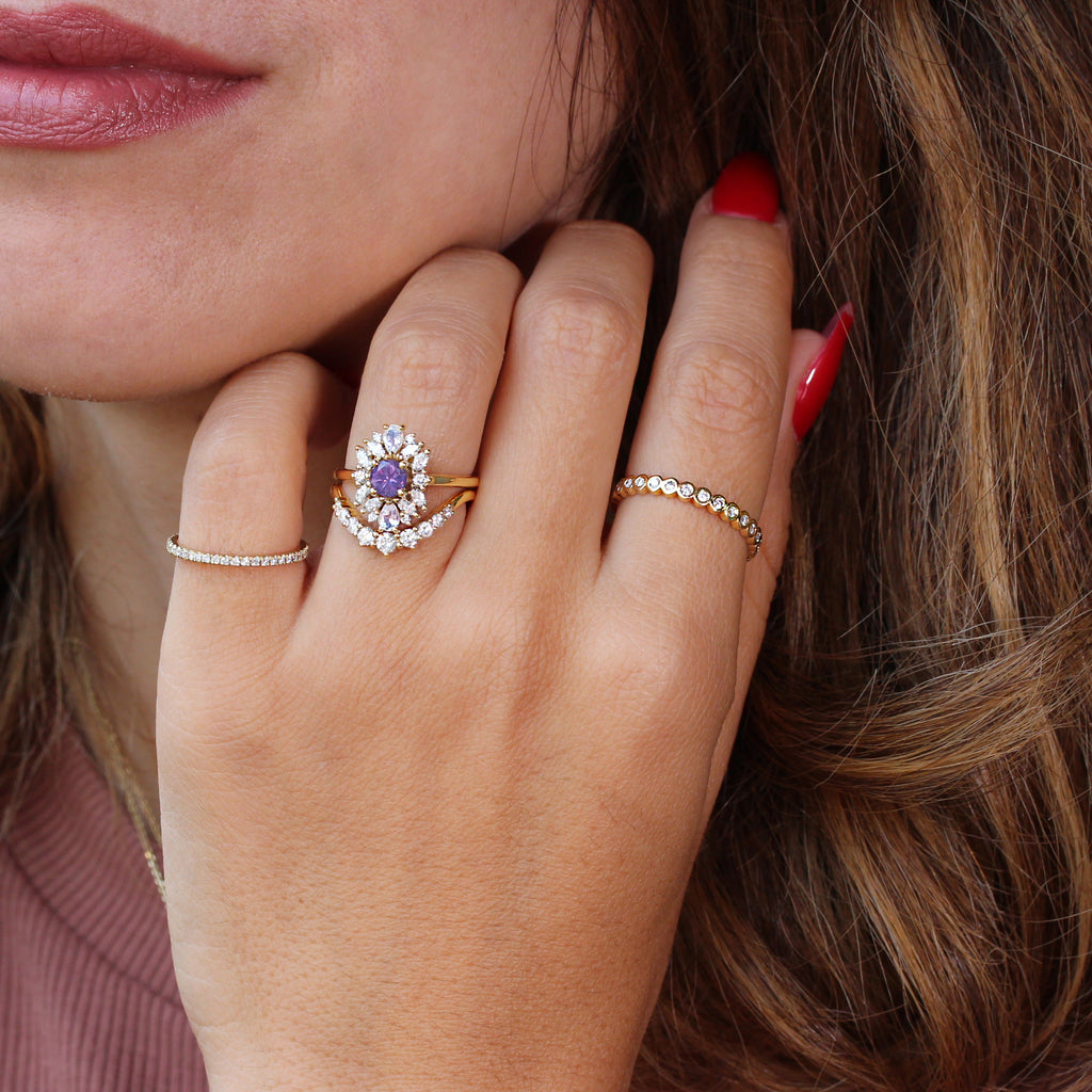 Round purple sapphire engagement ring, Odisea - Ready to ship in 14K yellow gold, size 6.5
