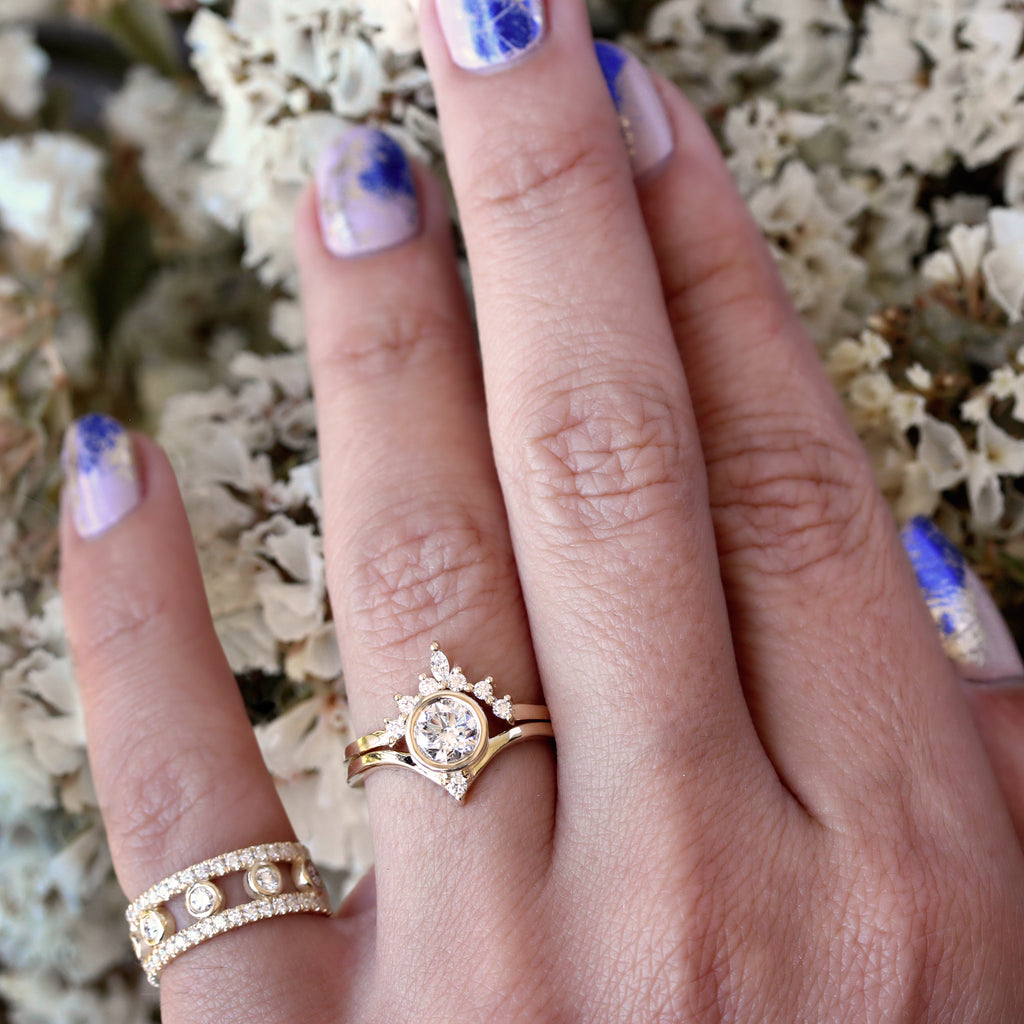 Bindi & Romi - Unique Moissanite Engagement & Wedding, Bridal Rings Set - sillyshinydiamonds