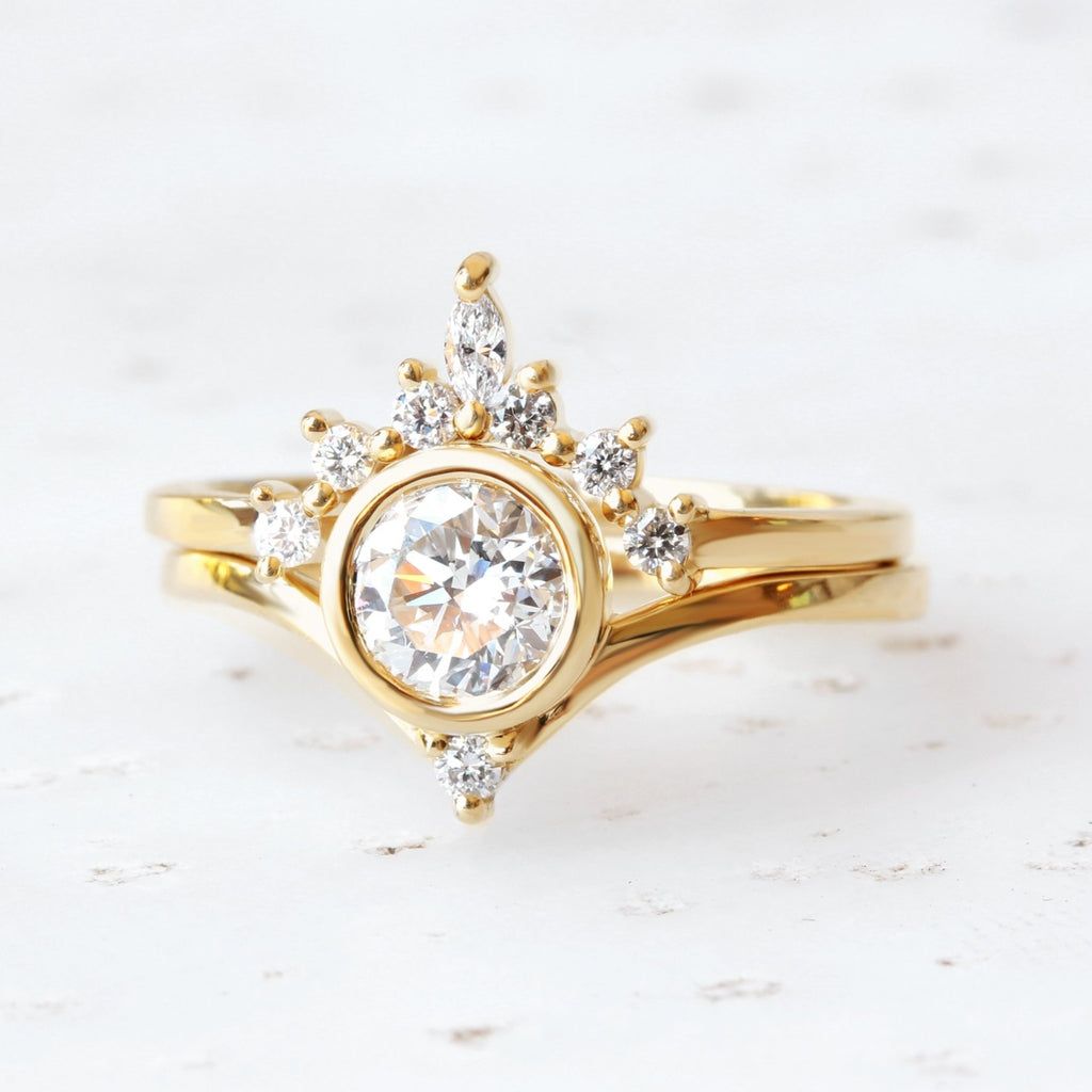 Bindi & Romi - 1ct Unique Diamond Engagement & Wedding, Bridal Rings Set - sillyshinydiamonds