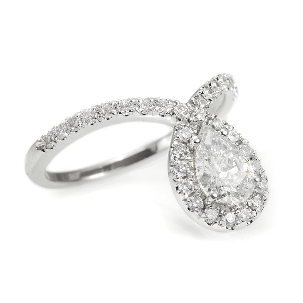 Bliss pear 0.96ct moissanite engagement ring - sillyshinydiamonds