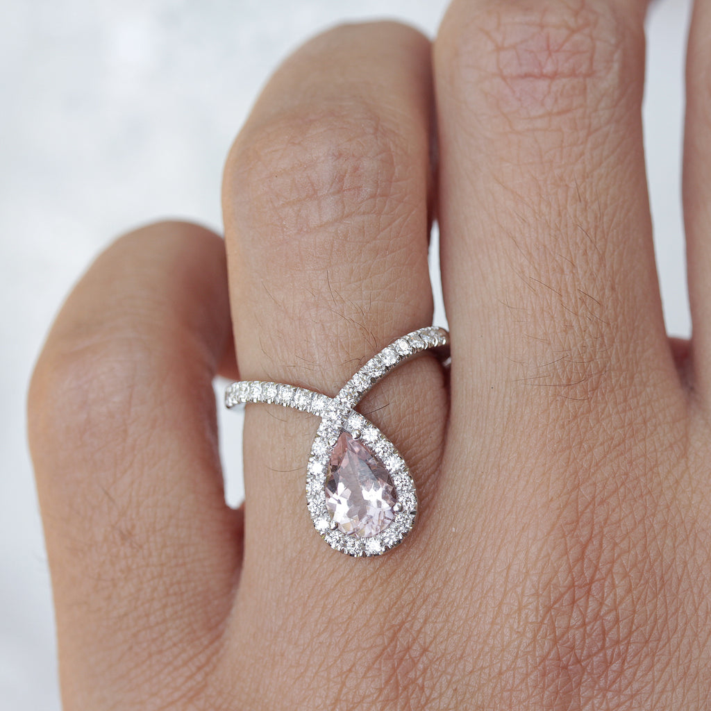 Bliss Pear Morganite 9X6mm & Diamond Halo Loop Unique Engagement Ring - sillyshinydiamonds