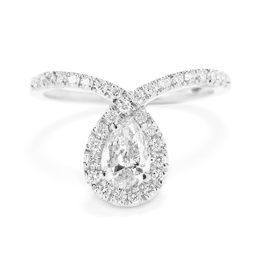 Bliss 0.7ct Pear Diamond Halo Unique Engagement Ring - sillyshinydiamonds