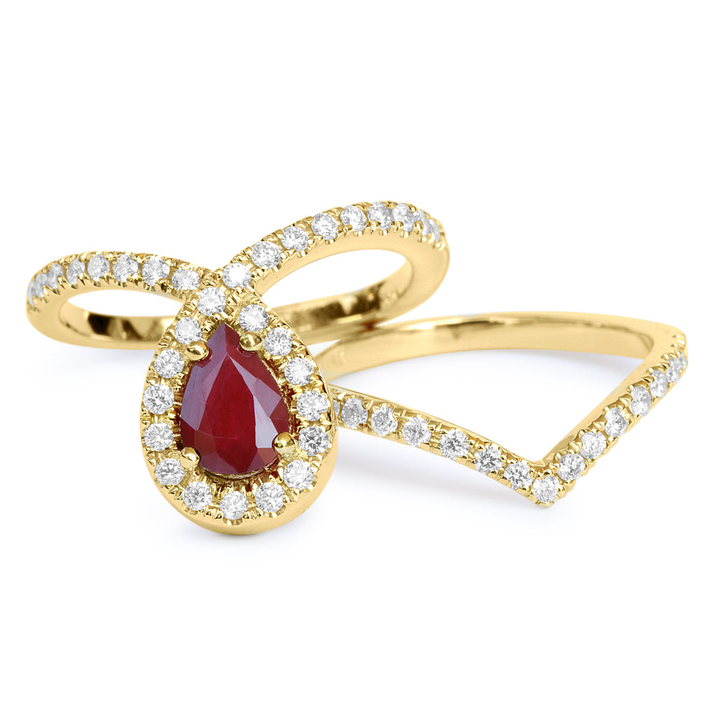 Bliss Pear Ruby & Diamond Halo Loop Unique Engagement Ring Set