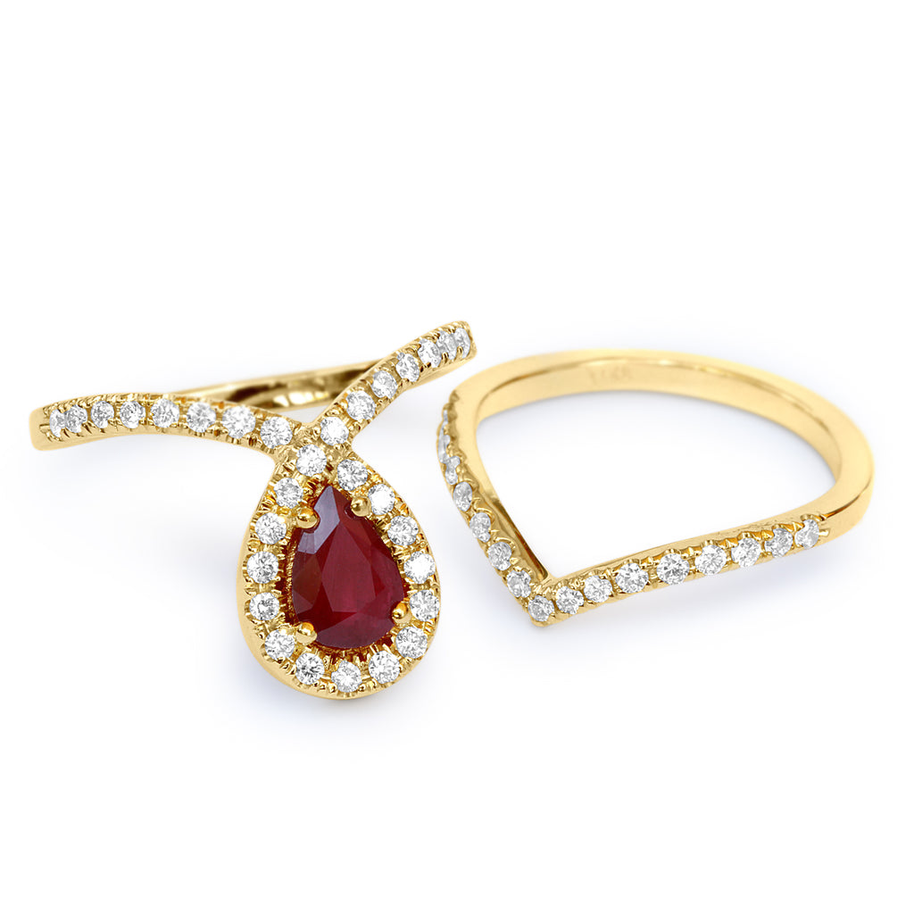 Bliss Pear Ruby & Diamond Halo Loop Unique Engagement Ring Set - sillyshinydiamonds