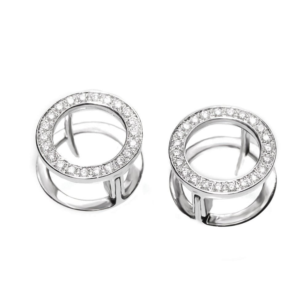 Unique Diamond Hugging Earrings 1.3cm diameter - 18K White gold Stud - READY to ship