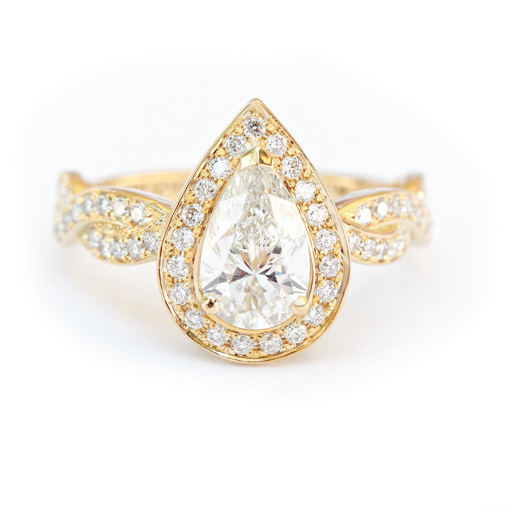 Pear Moissanite engagement ring, Zeus