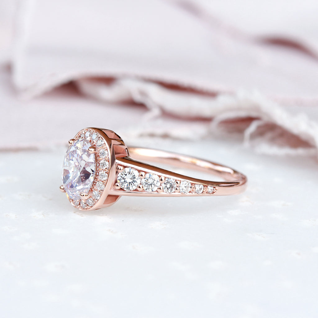 Oval Diamond 0.98ct Vintage Engagement Ring, Donna - 14K Rose gold size 6.5, Ready to ship - sillyshinydiamonds