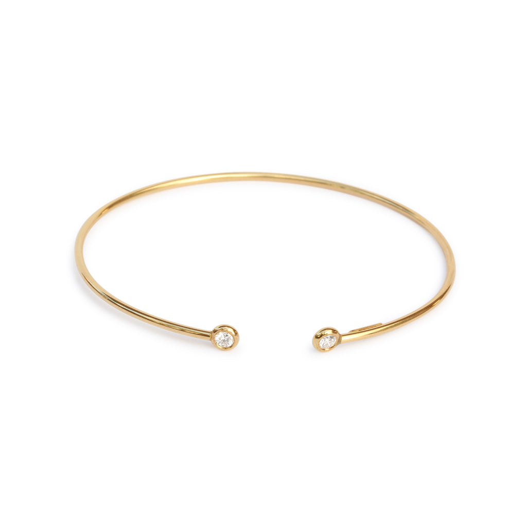 floppy bangle 18K yellow gold Dual diamond flexible open cuff - ready to ship - sillyshinydiamonds