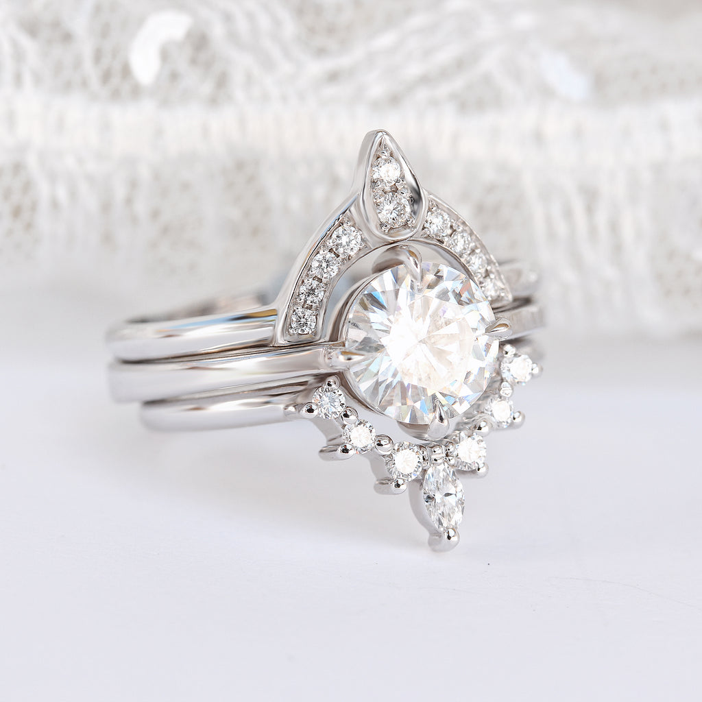 East West 1.1ct Certified Forever One Moissanite Solitaire Engagement Ring - sillyshinydiamonds