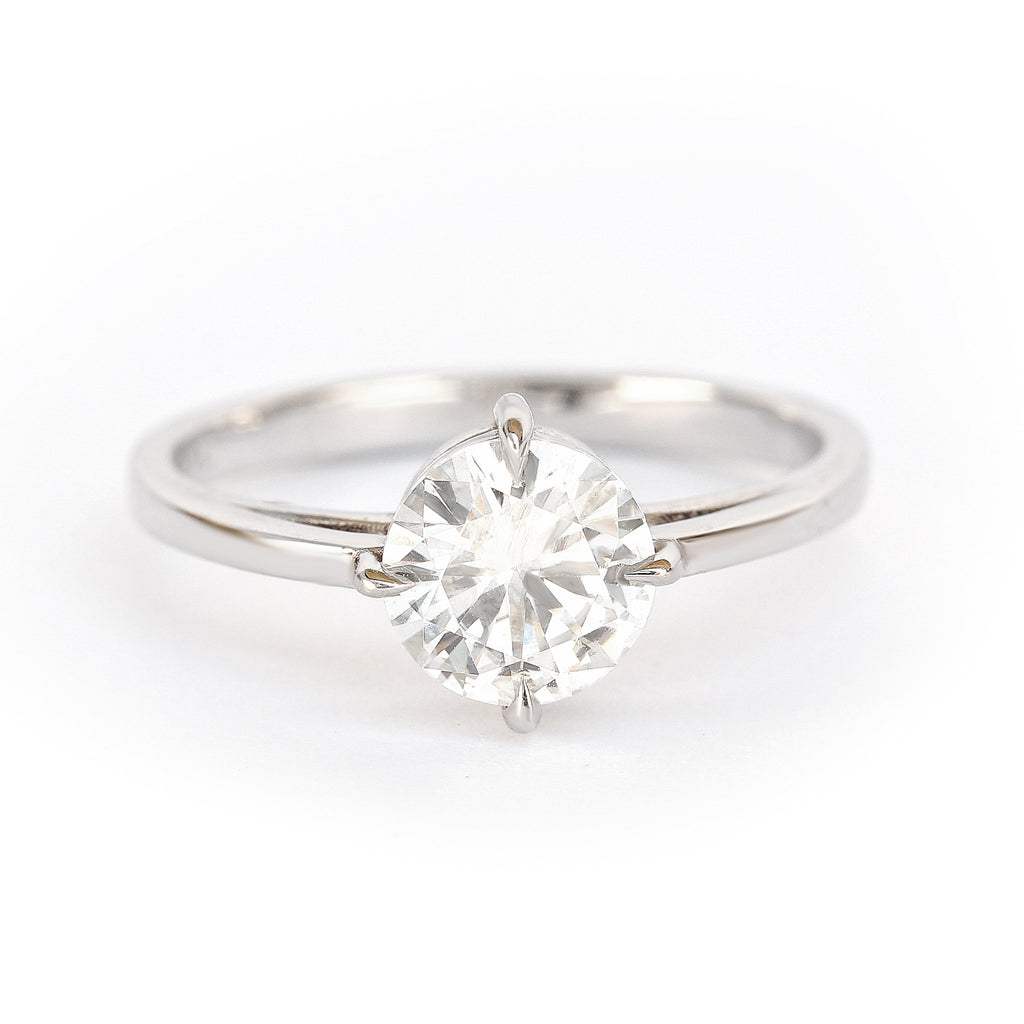 East West 1.1ct Certified Forever One Moissanite Solitaire Engagement Ring,Size 7-READY to ship - sillyshinydiamonds