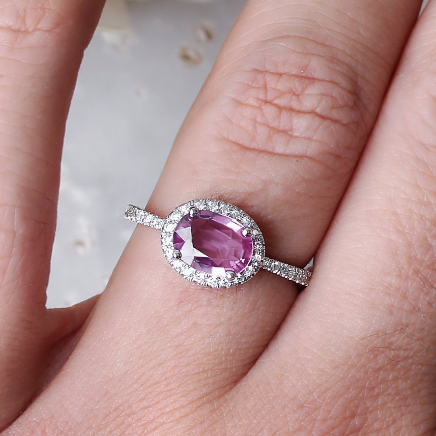 Oval Pink Sapphire & Diamond Halo, Ivy engagement ring - 14K white gold, size 6.5 - sillyshinydiamonds