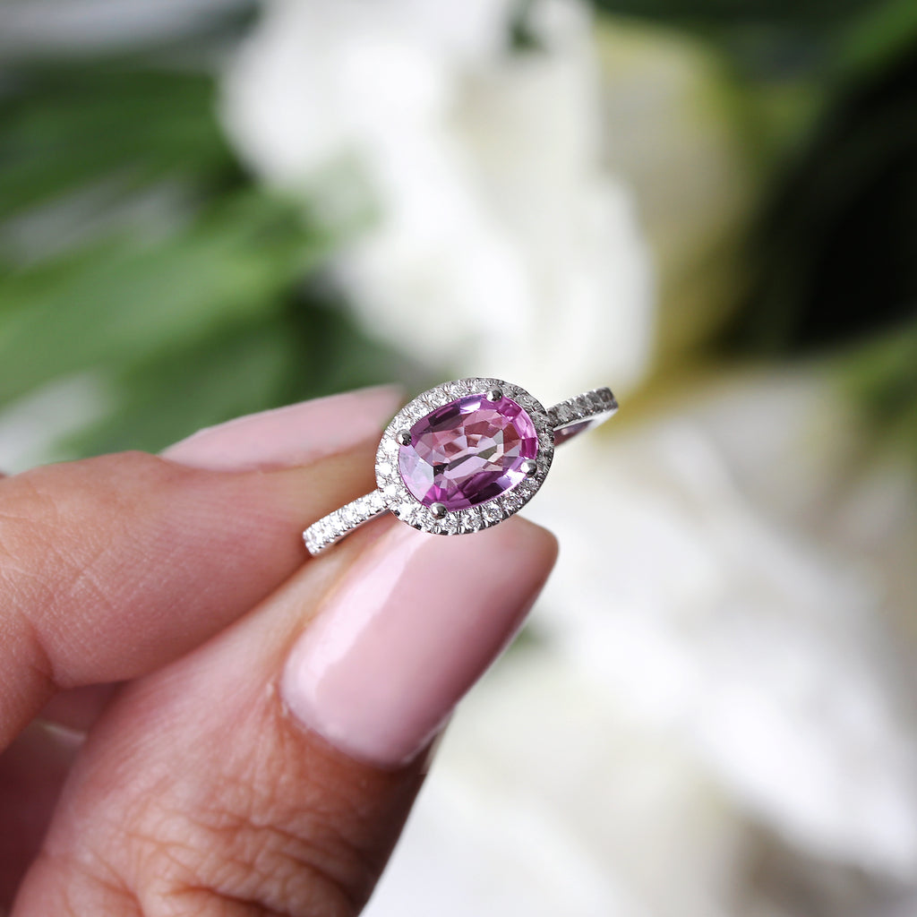 Oval Pink Sapphire & Diamond Halo, Ivy engagement ring - sillyshinydiamonds
