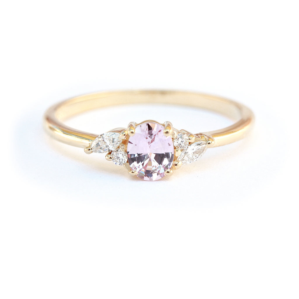 Oval pink sapphire delicate engagement ring, Ella - 14K yellow gold, Size 6.5