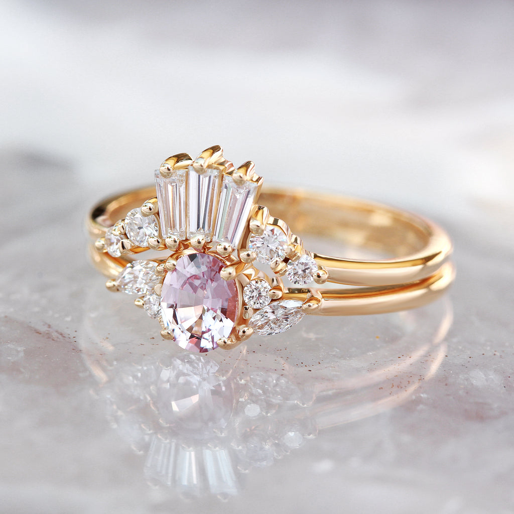 Oval pink sapphire & diamonds delicate engagement ring, Ella