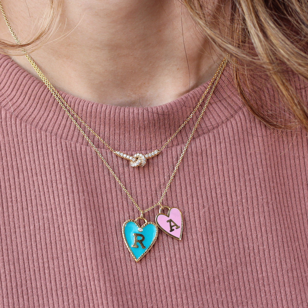 Small Heart Personalized initial Enamel colored heart pendant with gold frame