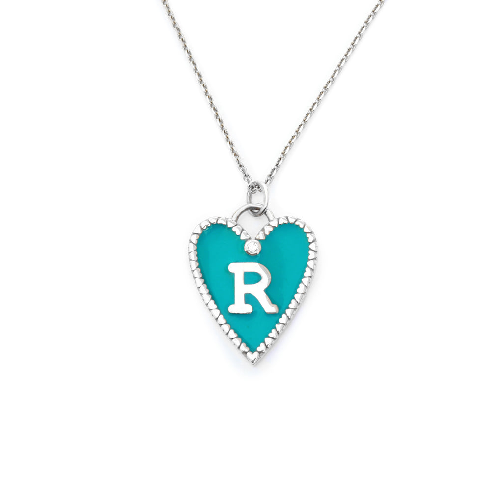 Personalized initial Enamel colored heart pendant with tiny hearts frame