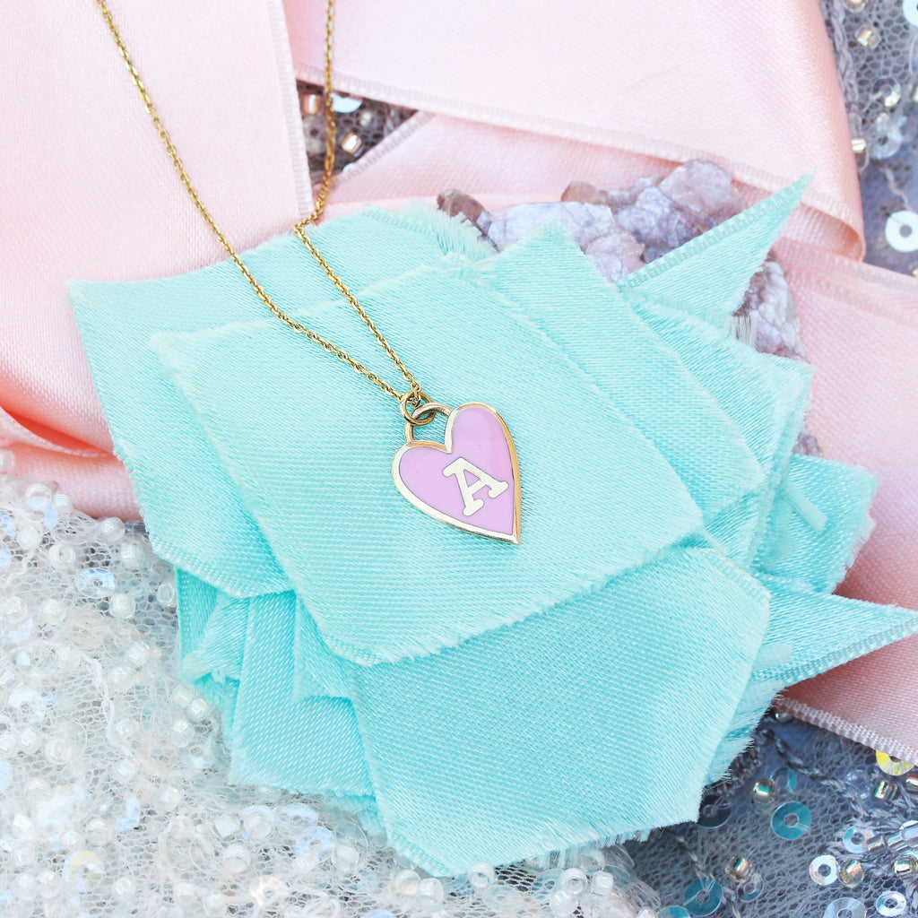 Personalized initial Enamel colored heart pendant with gold frame