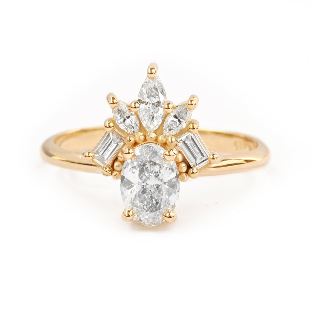 Gatsby Art Deco Oval Diamond Unique Engagement Ring
