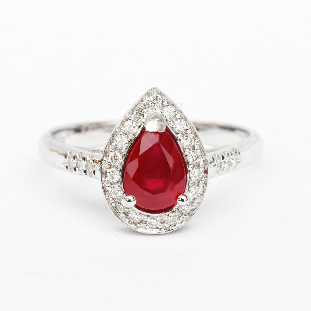 Pear Shape Glass-filled Ruby diamond halo Unique Engagement Ring