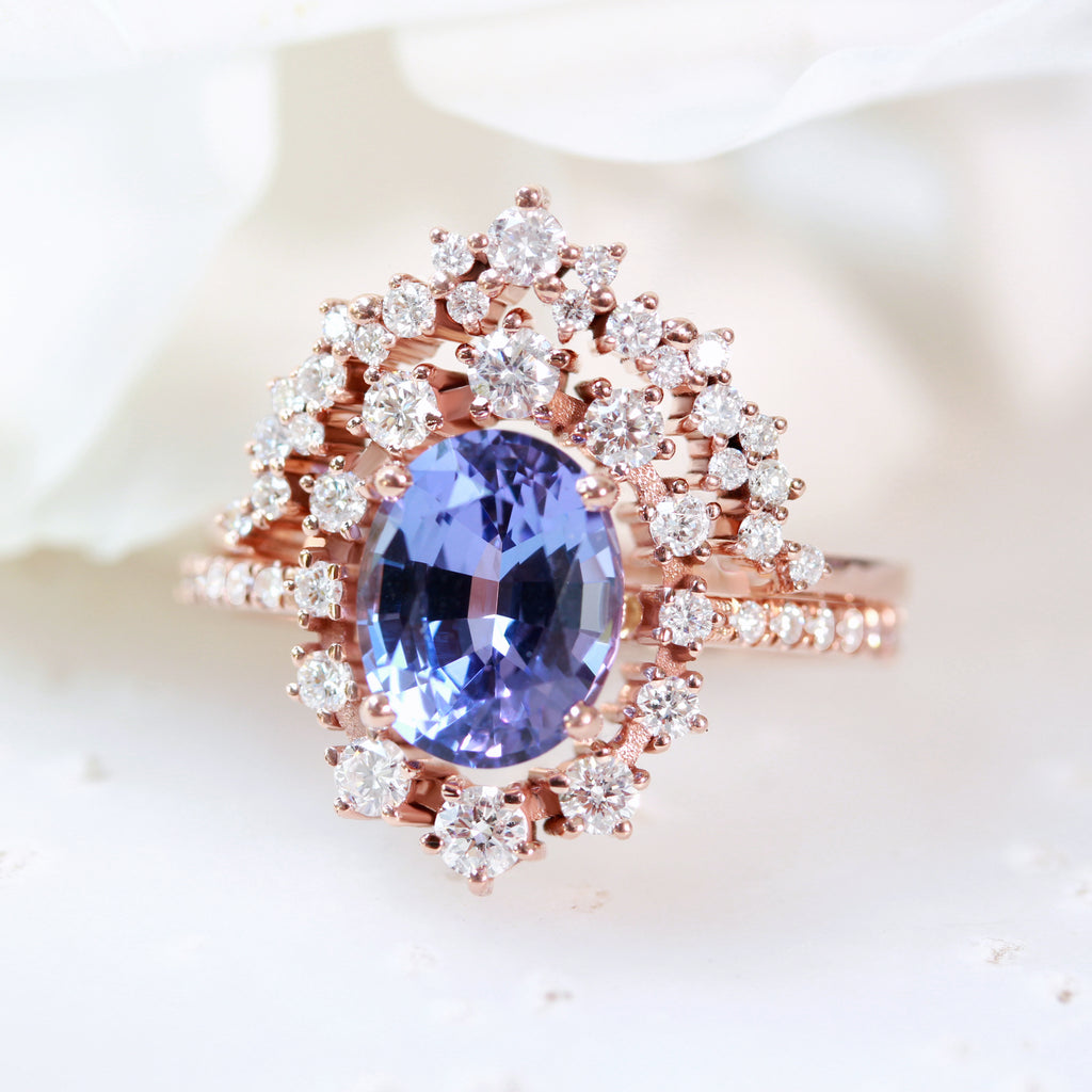 Tanzanite & Diamonds Halo Unique Engagement Two Ring set - Glory