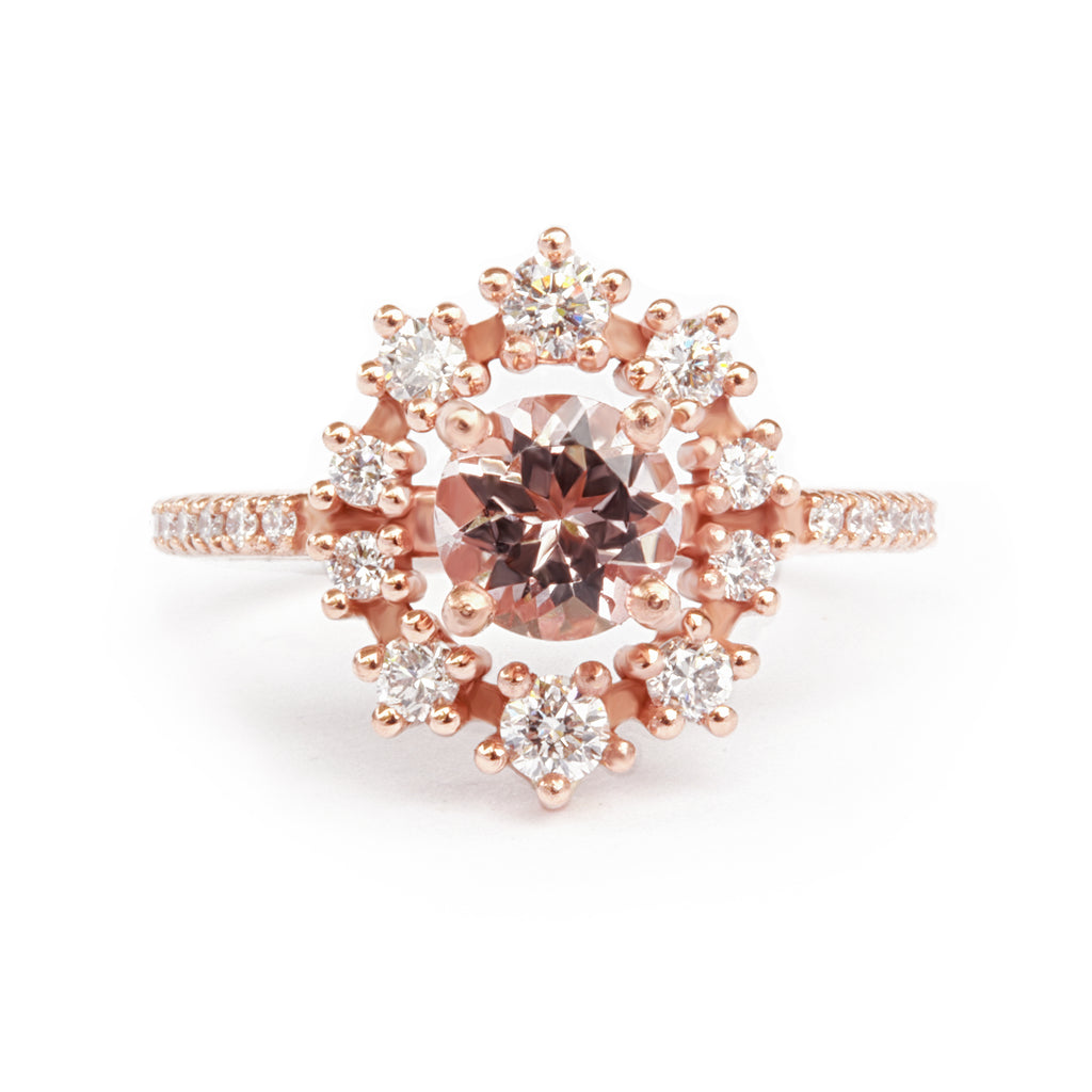 Morganite & Diamond Halo Unique Engagement Ring - Glory - sillyshinydiamonds