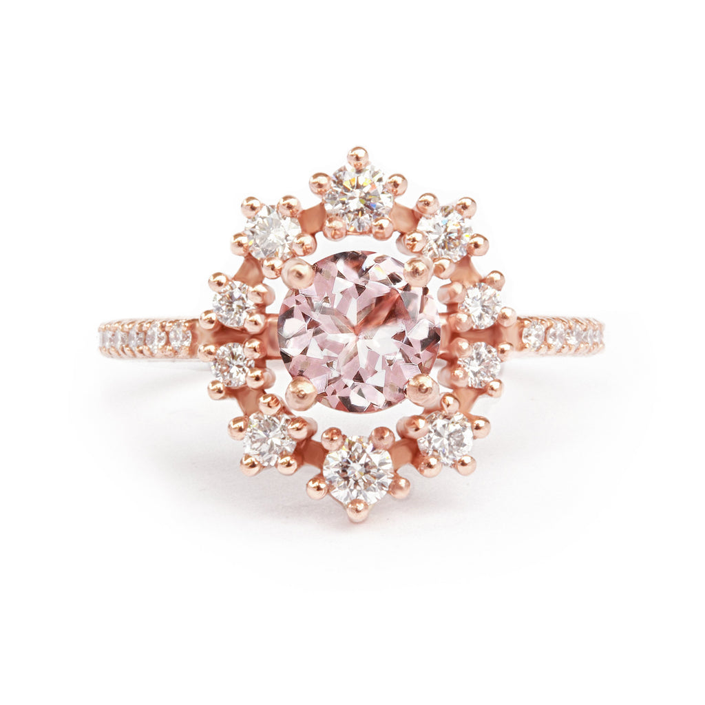 Morganite & Diamond Halo Unique Engagement Ring - Glory, Ready to ship, 14K rise gold, Size 6.5 - sillyshinydiamonds