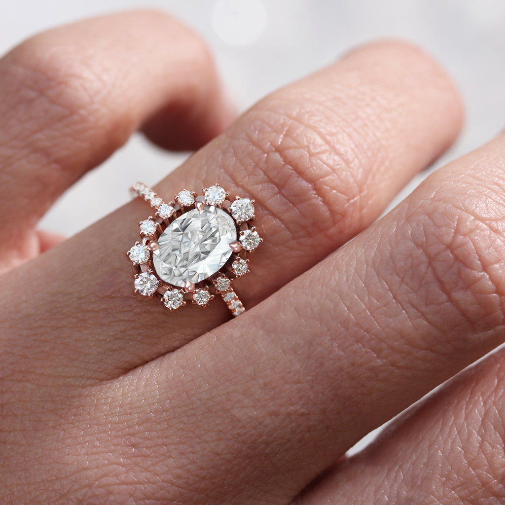 Oval Moissanite & Diamonds Halo Unique Engagement Three Ring set - Glory