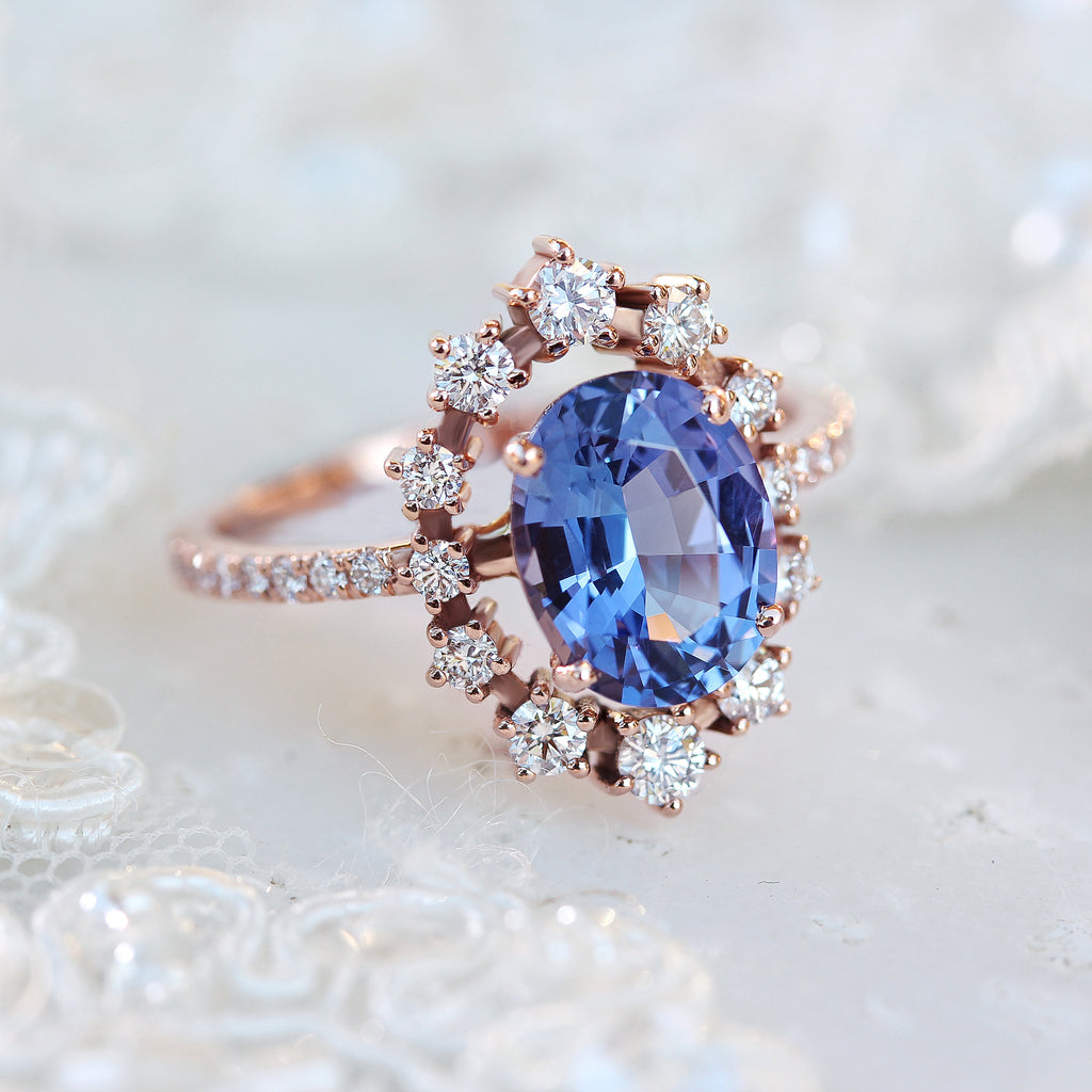 Tanzanite & Diamonds Halo Unique Engagement Ring - Glory - sillyshinydiamonds