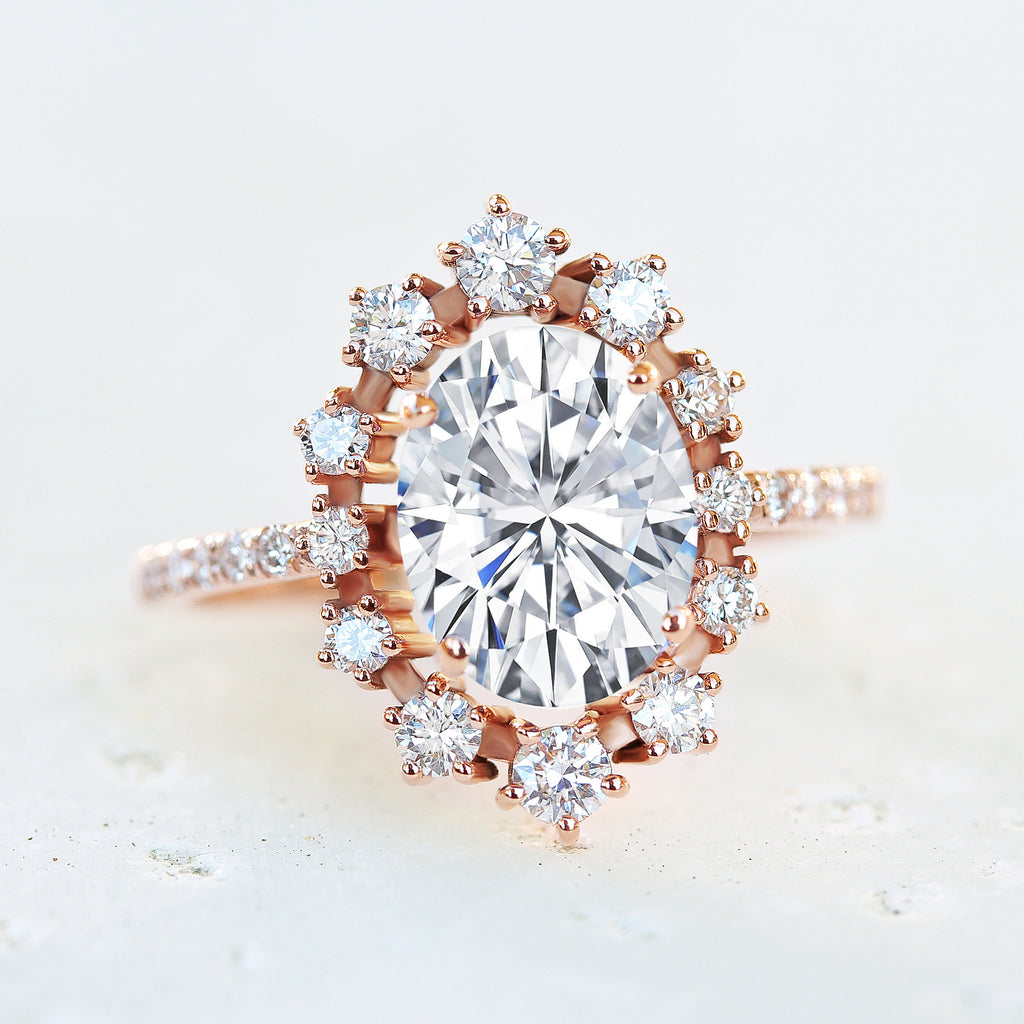 Oval Moissanite & Diamonds Halo Unique Engagement Ring - Glory