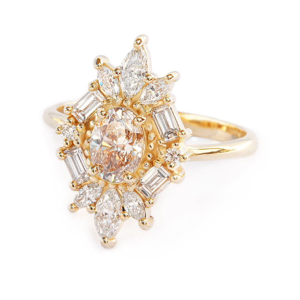 Great Gatsby Art Deco Oval Diamond Unique Engagement Ring, 14K Yellow Gold, Size 7, Ready to ship
