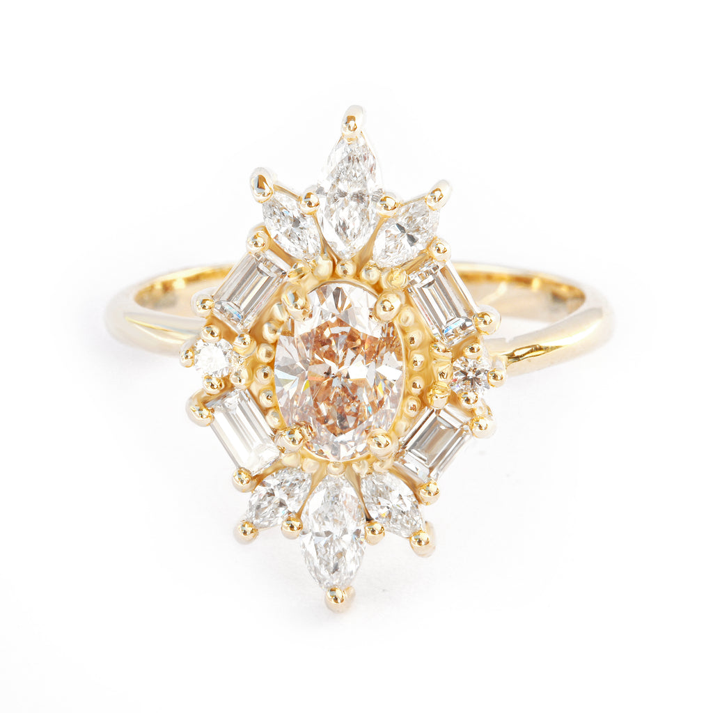 Great Gatsby Art Deco Oval Diamond Unique Engagement Ring, 14K Yellow Gold, Size 7, Ready to ship - sillyshinydiamonds