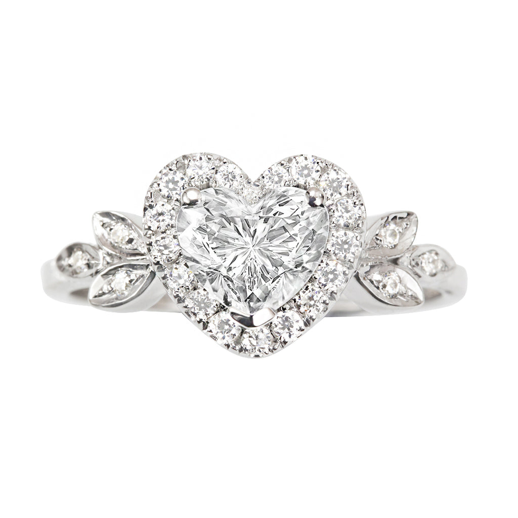 Blossom Heart Diamond Halo Unique  Engagement Ring - sillyshinydiamonds