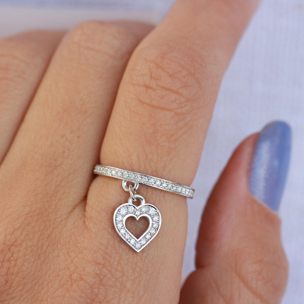 Heart Diamond Charm Dangle Drop Ring - LEV