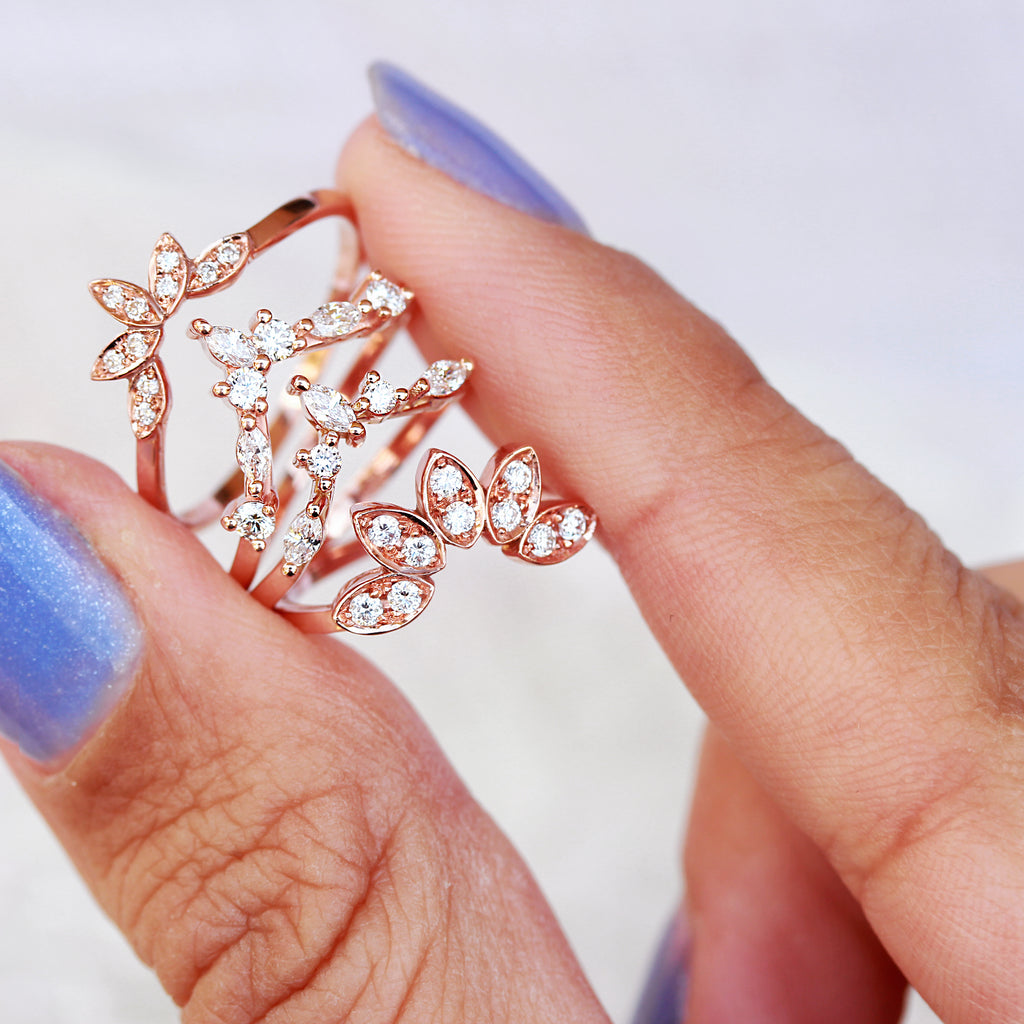 rose gold nesting rings, contour rings