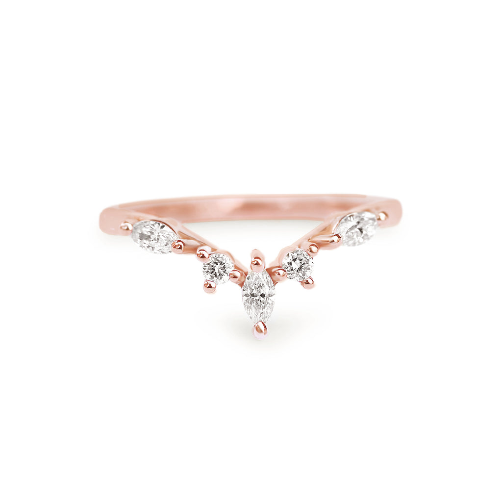 unique V nesting ring contour ring rose gold