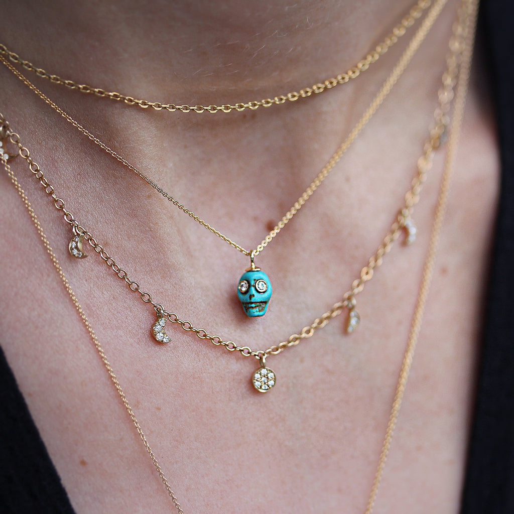 Howlite Turquoise Mini Skull gold Pendant Necklace for Halloween - sillyshinydiamonds