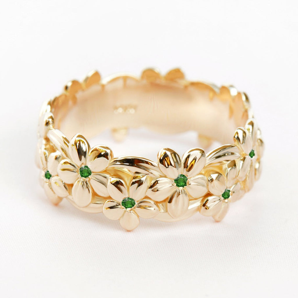 Hawaiian Emerald floral Jungle Unisex Wedding Band - sillyshinydiamonds