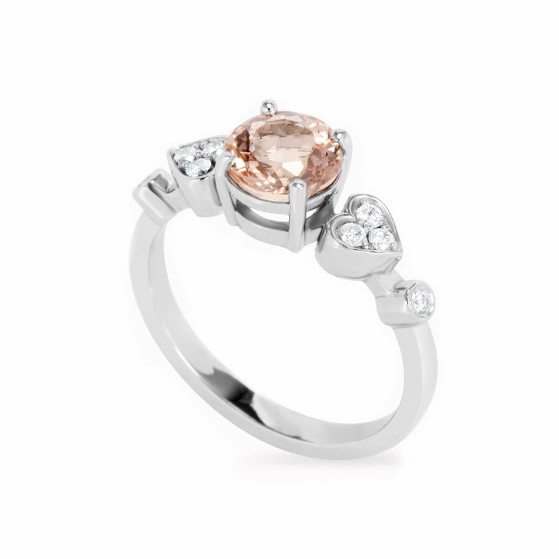 Morganite & Diamond Heart Shank Unique Engagement Ring, Ready to ship in 14K White Gold, Size 6.5 - Doti