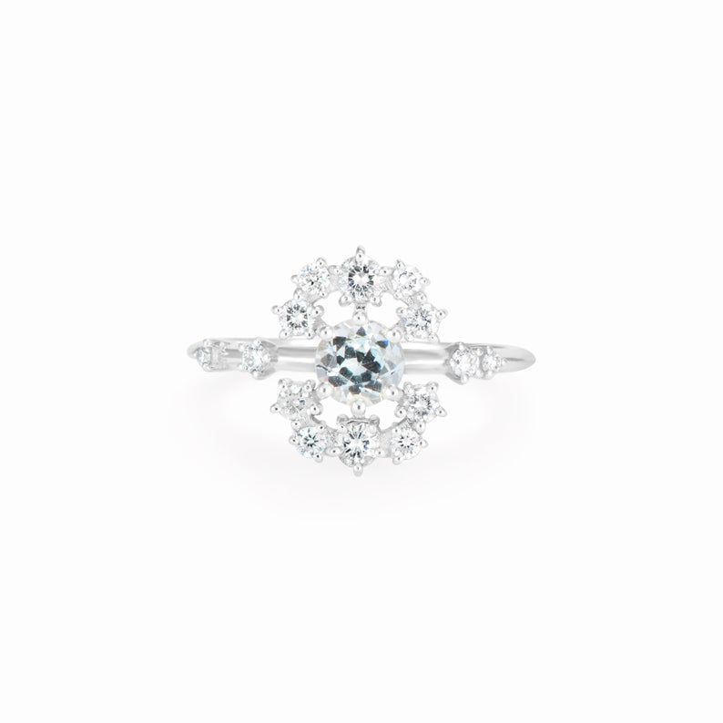 Aquamarine Engagement Ring, Unique diamond halo, 14K White Gold, Size 6.5, Aquamarine Wedding Ring, Roya Ray, Ready to ship