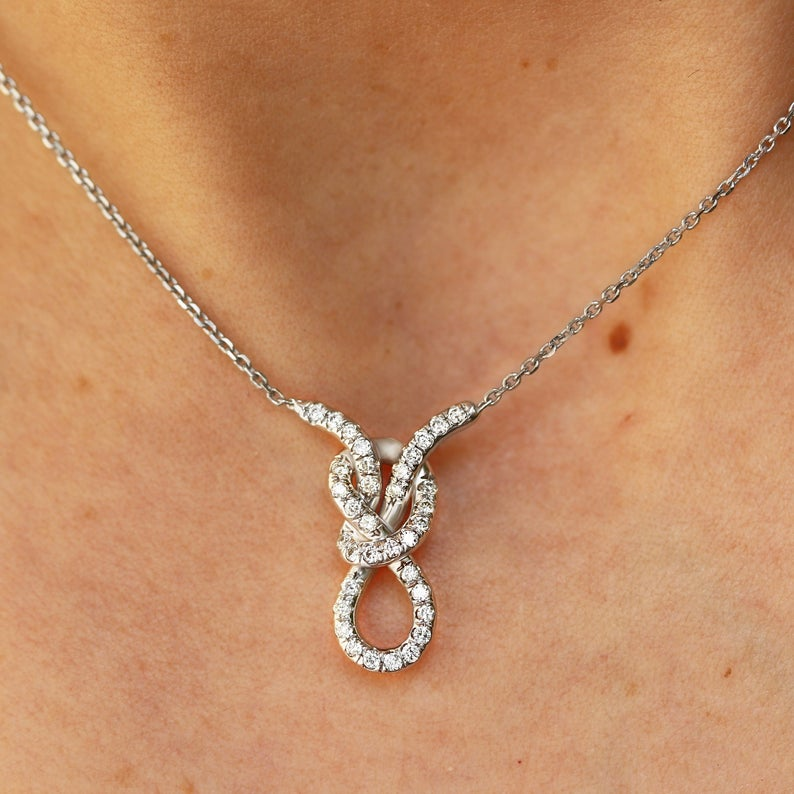 Unique Diamond Knot Choker Necklace, figure 8 Infinity Knot, Made from 14K Gold set with diamonds - READY to ship - sillyshinydiamonds