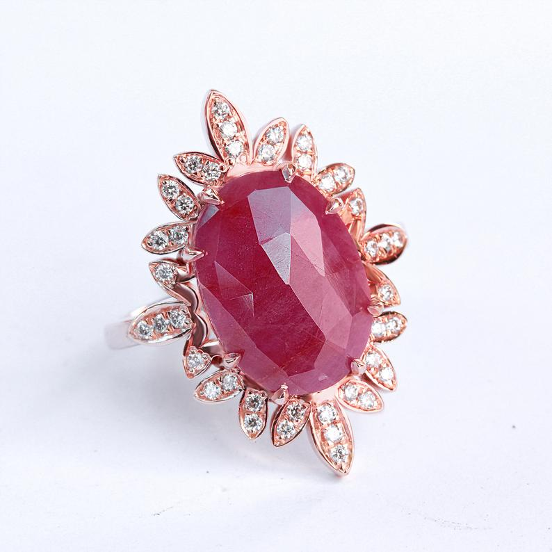 Cocktail ring Oval African Ruby and Diamond Leaves Ring, 14K Rose Gold, size 7, Ring for Women,Index Finger - READY to ship - sillyshinydiamonds