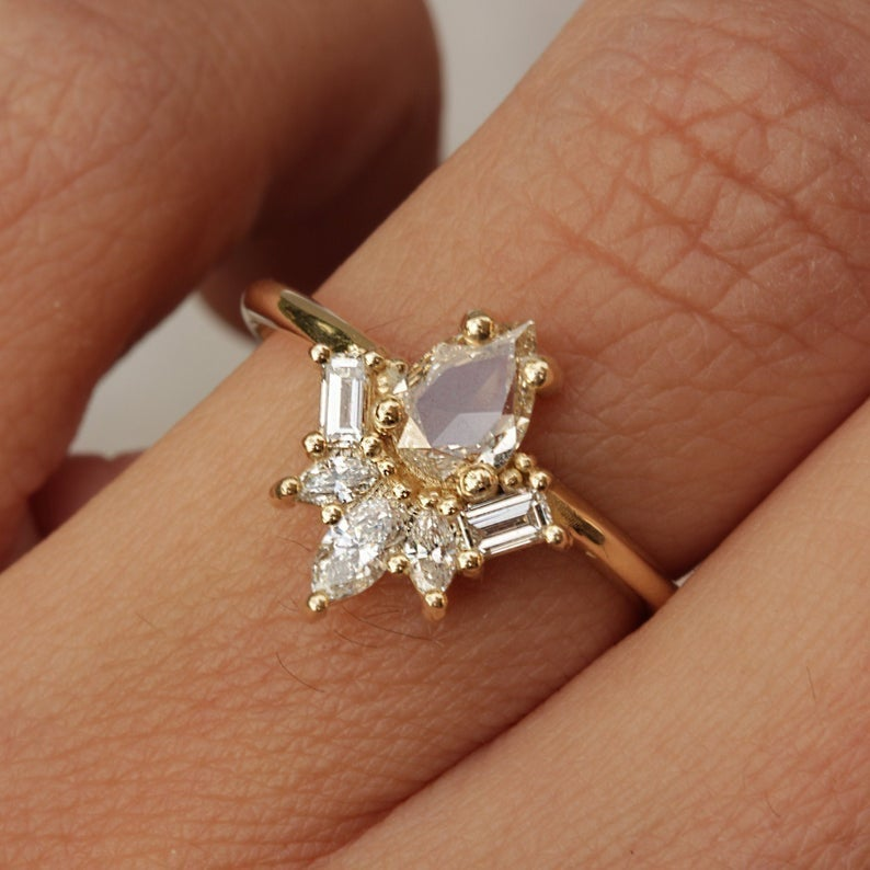 Pear Rose Cut Unique Engagement Ring, 0.78 carat, 14K Yellow Gold, Size 6.75 , Art deco Ring, Delicate Ring - Gatsby - READY to ship