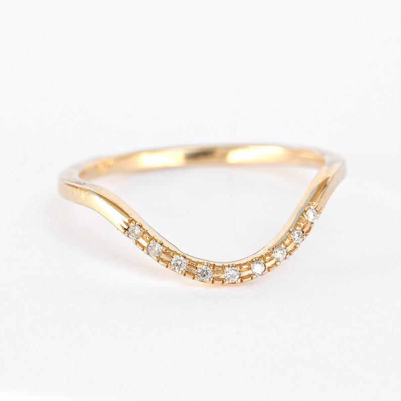 Curved Delicate Diamond Ring, Unique Diamond Wedding Ring - 14K Yellow Gold, Diamond Side Ring, Diamond Stackable Ring - sillyshinydiamonds