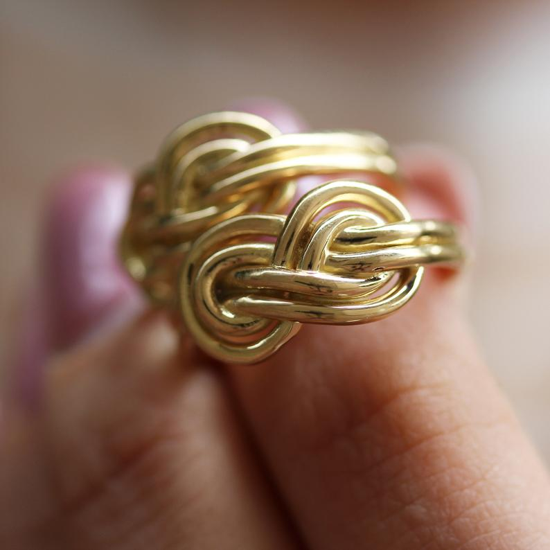 Double Infinity Knot Unique Wedding Gold Ring - sillyshinydiamonds