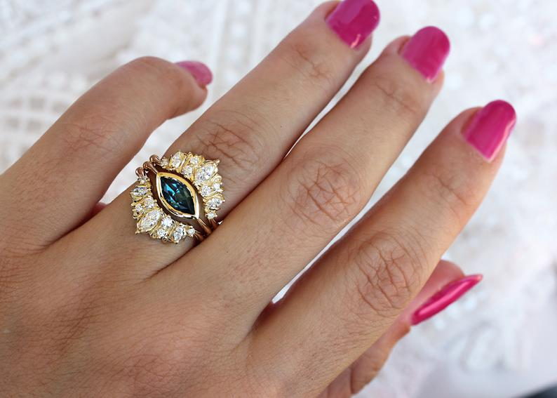 Marquise Blue topaz unique engagement three ring set, Illuminati trio - sillyshinydiamonds