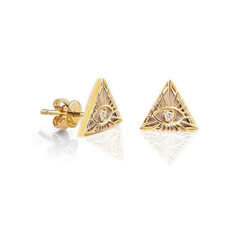 The all seeing Eye Talisman Diamond Stud Earrings, 14K solid Gold Illuminati Stud Earrings - sillyshinydiamonds