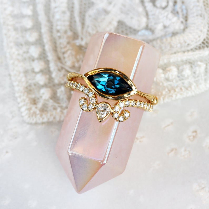 Marquise Blue Topaz Solitaire Engagement Ring - sillyshinydiamonds