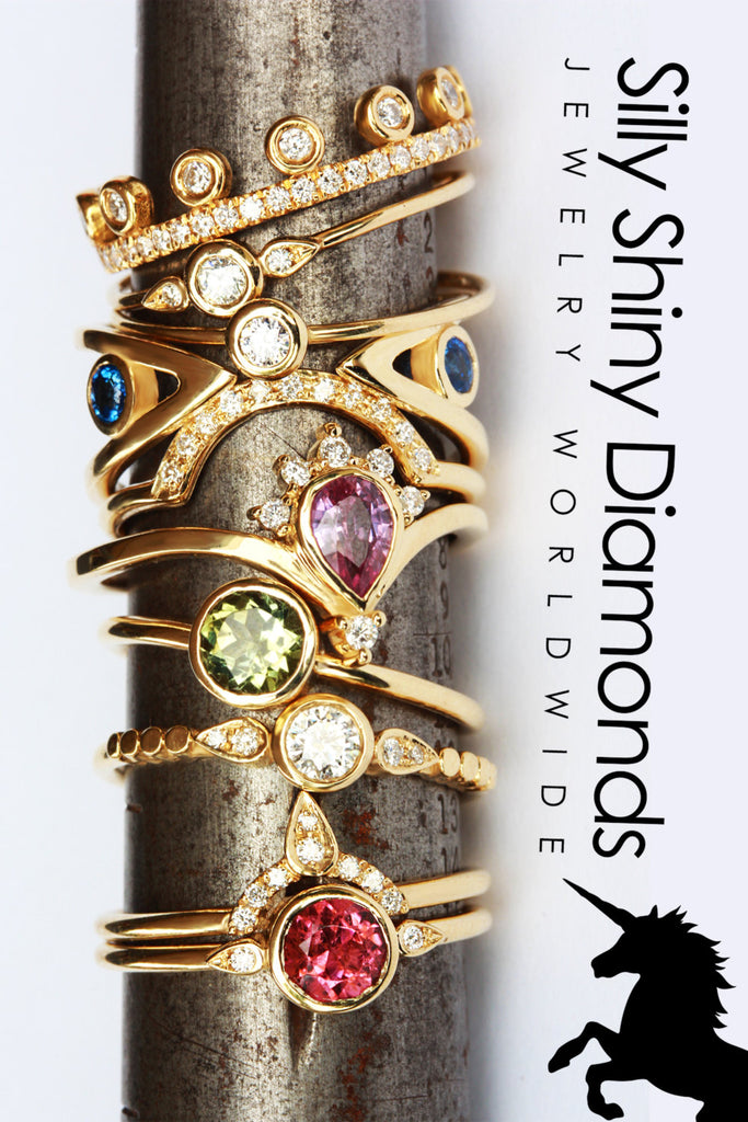 Pink Tourmaline Crown Diamond Engagement Rings Set, Valentine's Day gift for her, 14K Yellow Gold, Delicate gold ring, Size 7